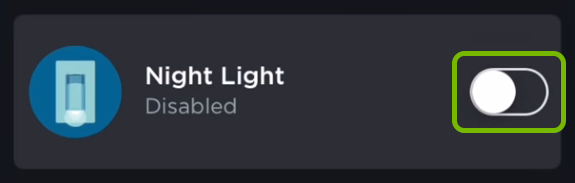 Toggle switch highlighted for Night Light feature in ecobee app.