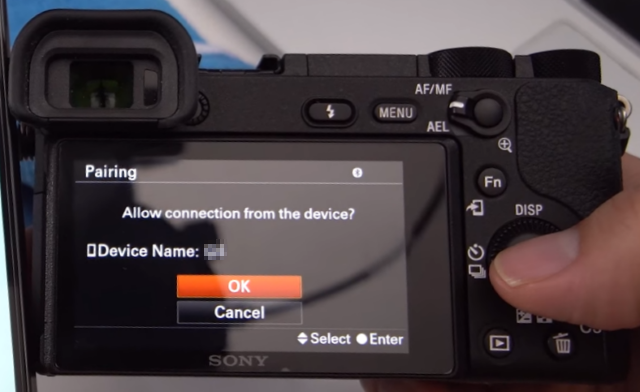 Camera screen with connection query