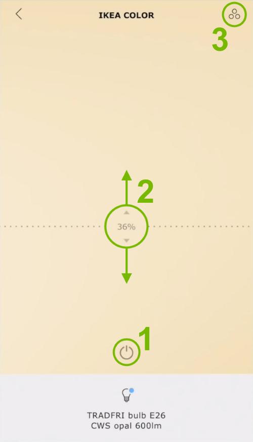Light control options highlighted in Ikea Tradfri app.