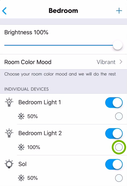 Color swatch highlighted for individual light bulb in C by GE app.