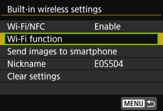 menu with Wi-Fi Function highlighted