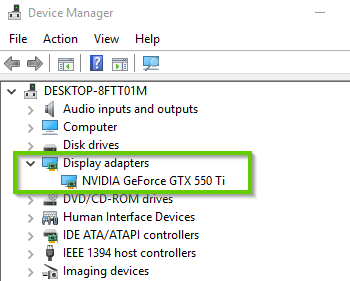 Windows 10 device manager showing display adapter