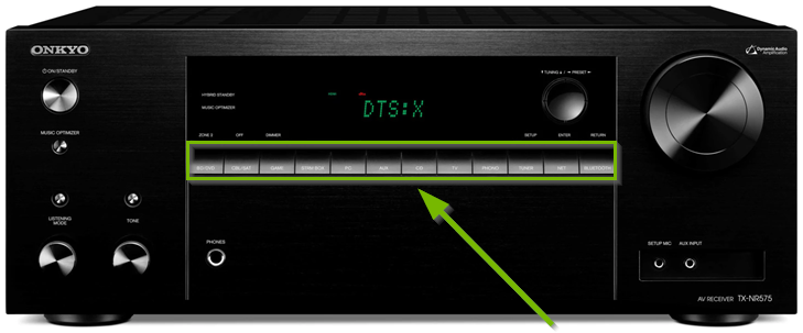 AV receiver highlighting button style input selection options.