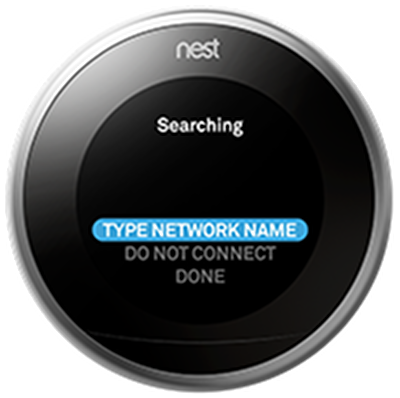 Nest thermostat searching for Wi-Fi networks.