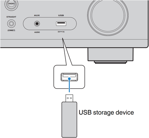 USB device being connected to unit. Illustration.