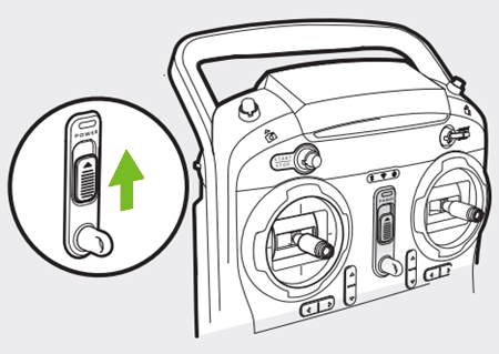 Diagram showing the on button