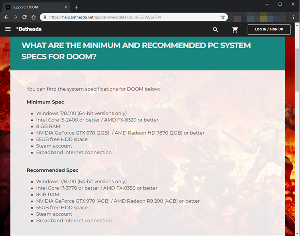 Bethesda website displaying the system requirements for Doom.