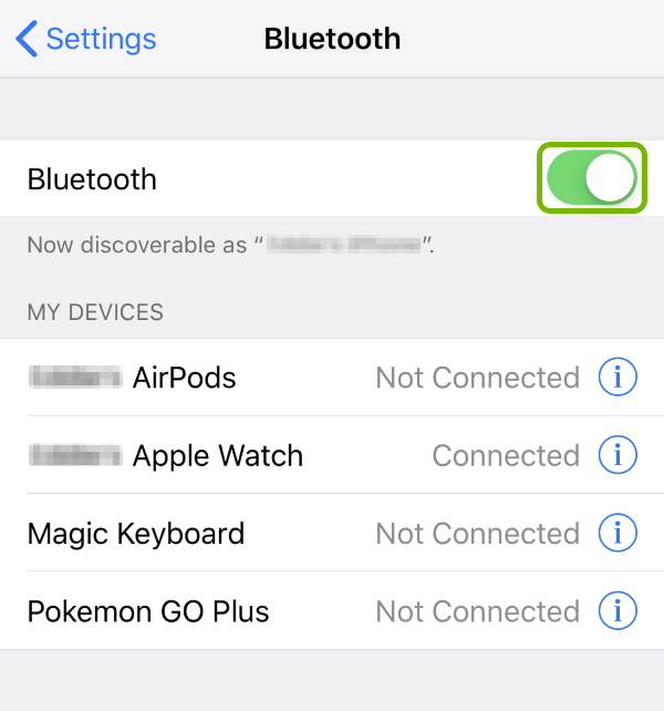 Bluetooth toggle switch highlighted in iOS settings.
