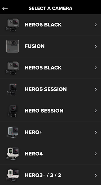 Screenshot of the GoPro app displaying a list of available GoPro devices.