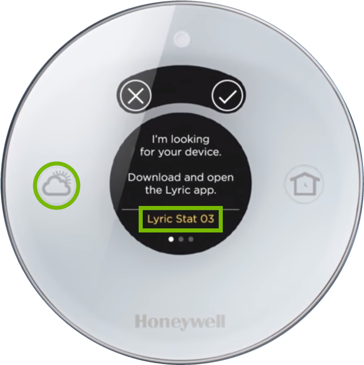 Lyric Round thermostat showing Wi-Fi network name.