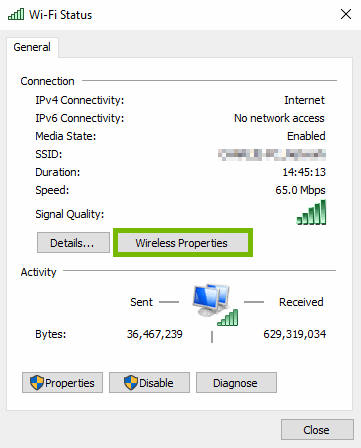 Wireless Properties button highlighted on Wi-Fi status pop-up.