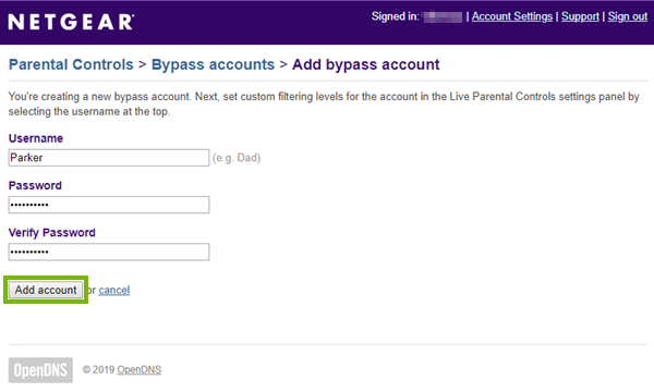 Bypass account creation screen highlighting the add account button.