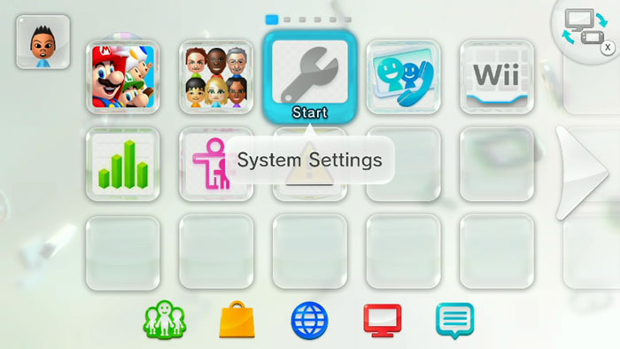Nintendo Wii U home screen highlighting the system settings icon.