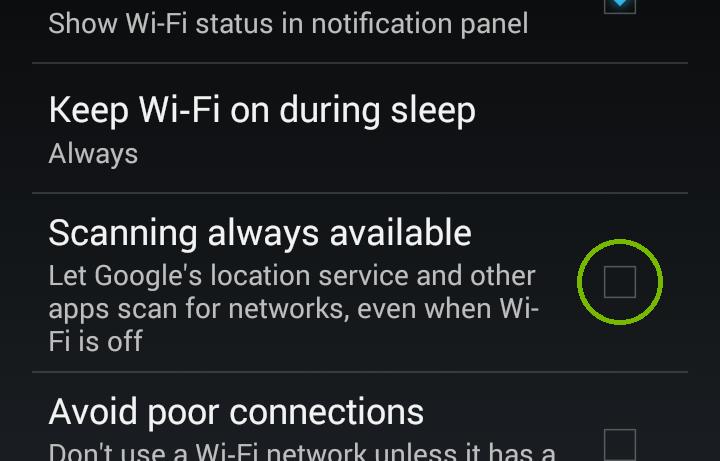 Android Advanced Wi-fi Menu, Always Scanning. Screenshot
