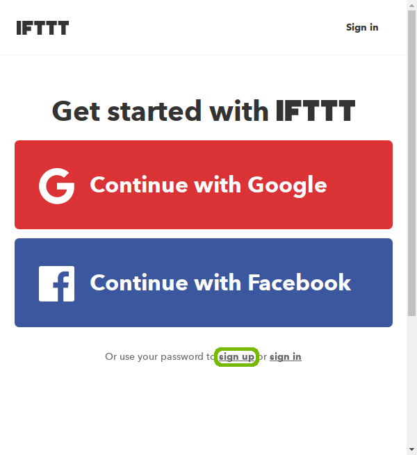 IFTTT sign up page with sign up highlighted.