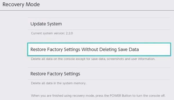 Nintendo switch factory settings restore without deleting
