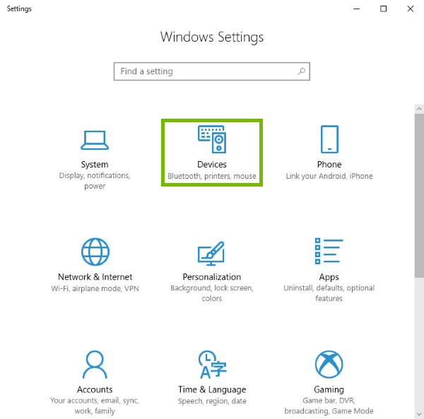 Devices highlighted in Windows 10 settings.