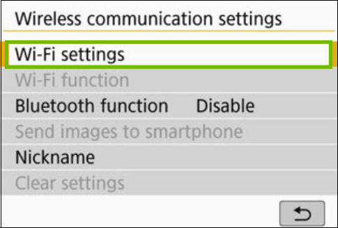 Wireless menu with Wi-Fi settings highlighted