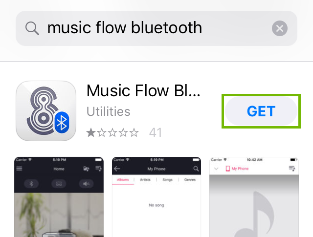 Music flow bluetooth store page with get highlighted