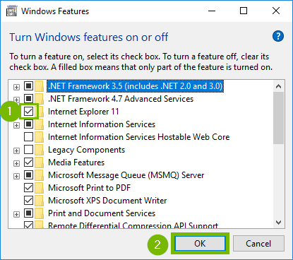Features window with Check box for Internet Explorer and OK highlighted. Screenshot