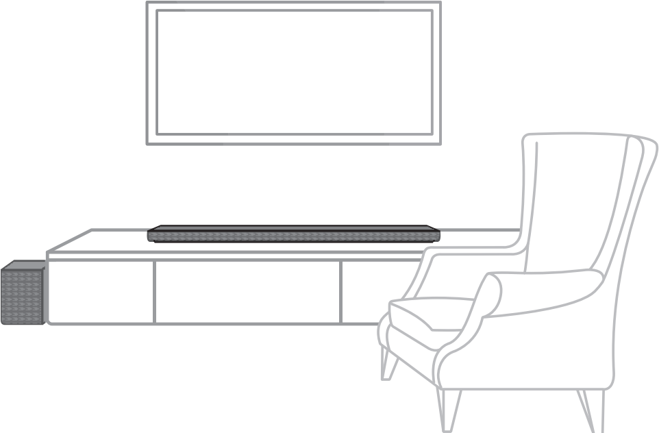 Diagram showing soundbar and subwoofer placement