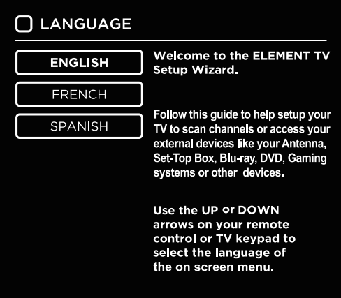 Language selection in setup wizard