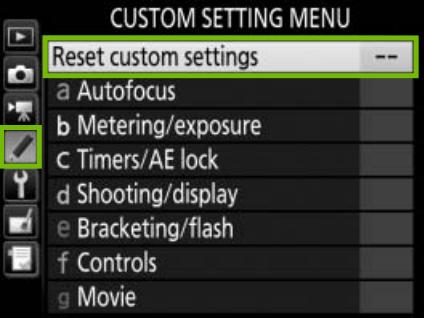 custom settings menu with reset custom settings highlighted