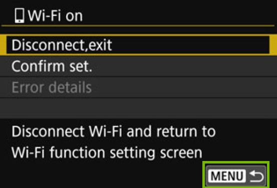 camera screen with wi-fi showing connected with the menu button highlighted