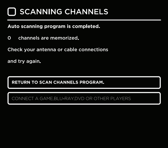 Channel scan results screen