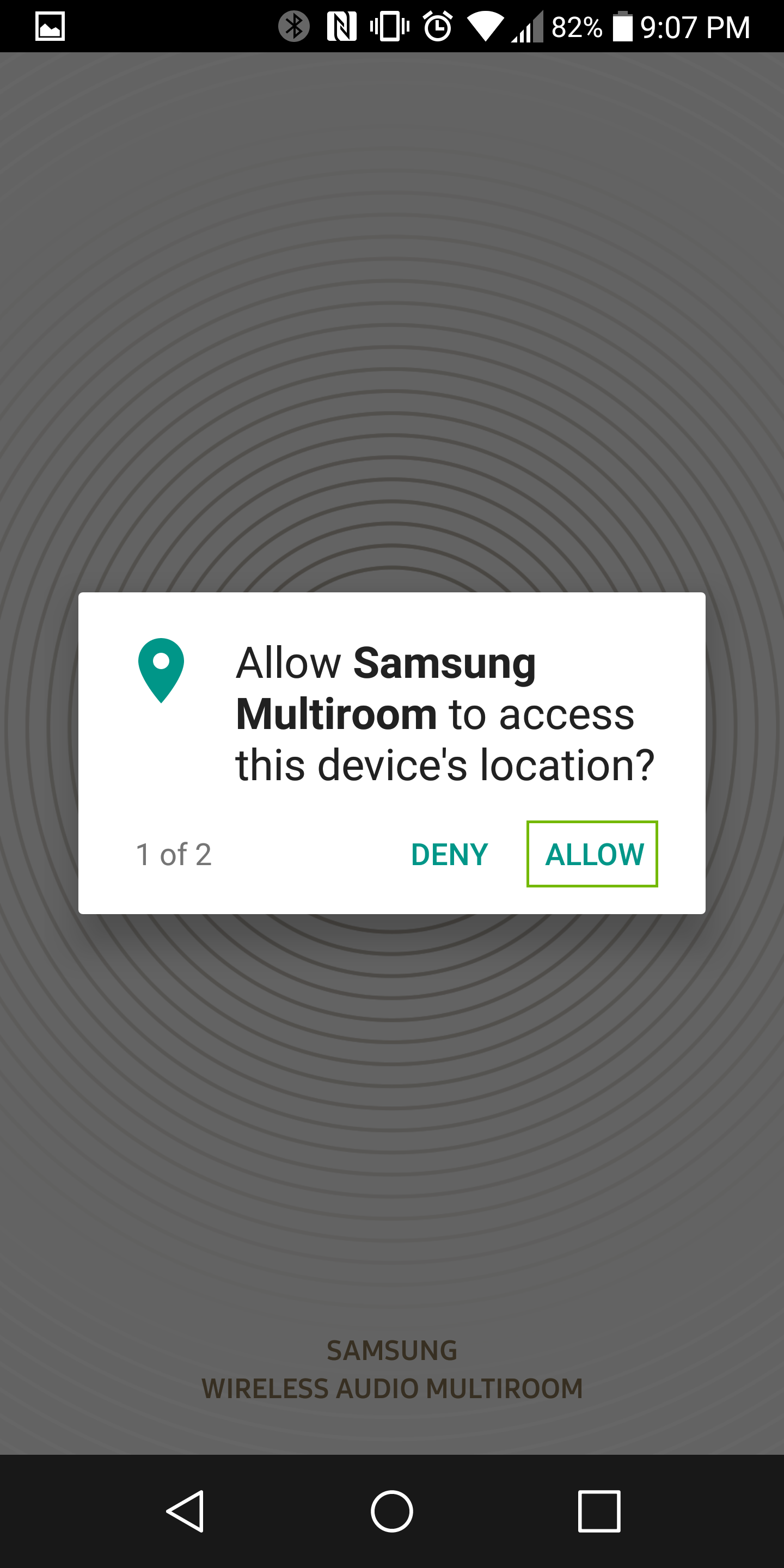 location permissions dialog with allow highlighted