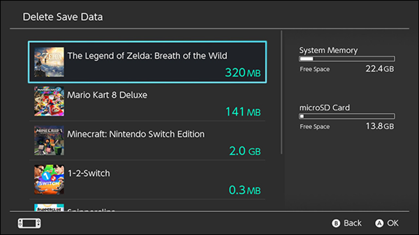 Nintendo Switch save data