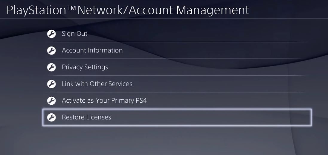 PlayStation Network Account Management with Restore Licenses selected. Screenshot.