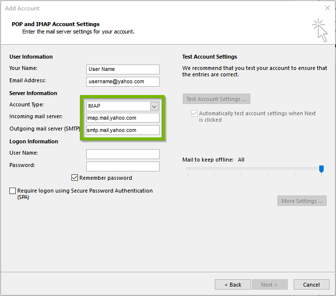 Yahoo mail settings in outlook showing imap