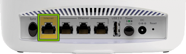 Internet port highlighted on rear of Orbi Router.