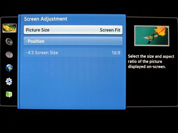 Samsung Screen adjustment menu