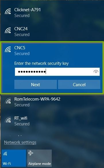 Windows 10 Wi-Fi connection process highlighting a selected network and a user-entered network security key.