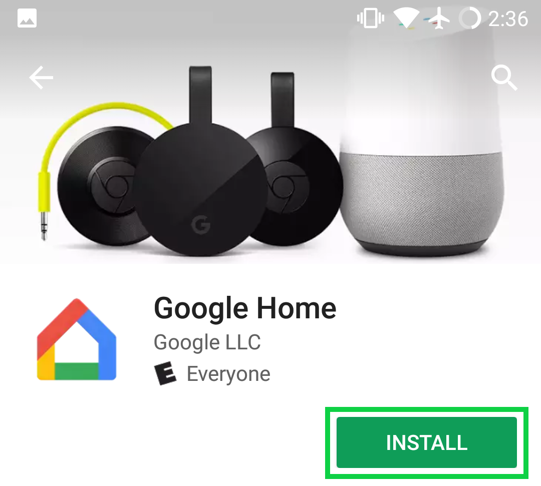 Google Home app page with Install highlighted