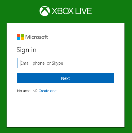 Xbox Live web site prompting for Sign-in.