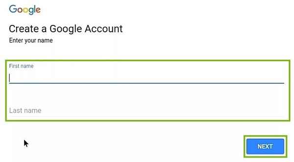 Create account with First and Last name, Next button highlighted.
