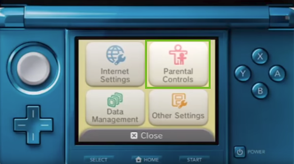 Nintendo 3DS parental control settings