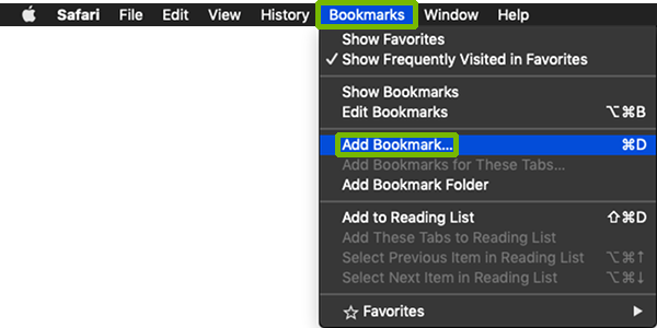 Bookmark menu with Add Bookmark highlighted.