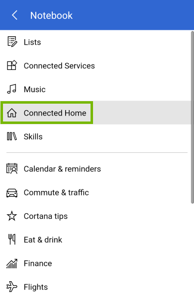 Connected Home highlighted in Cortana notebook menu.