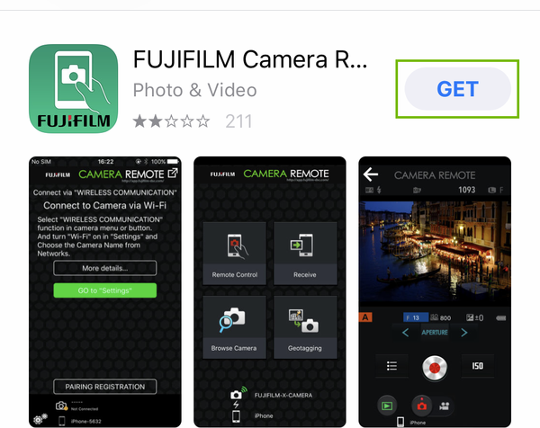 fujifilm app store page with get highlighted
