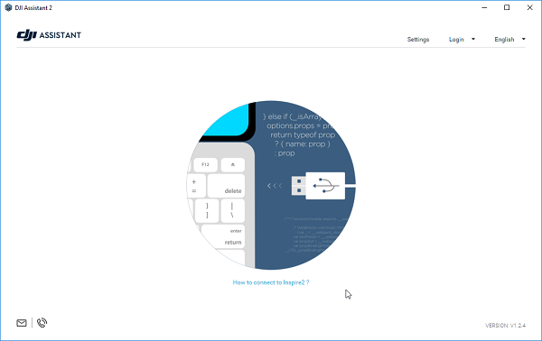 DJI connection page. Screenshot