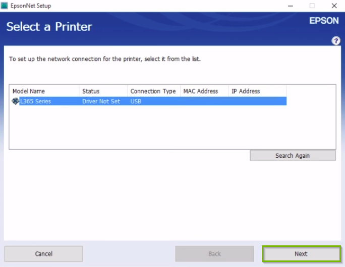 Epson printer installation screen displaying a list of available printers, highlighting the next button.