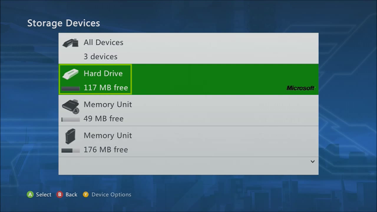 Storage devices list with drive selected. Screenshot.