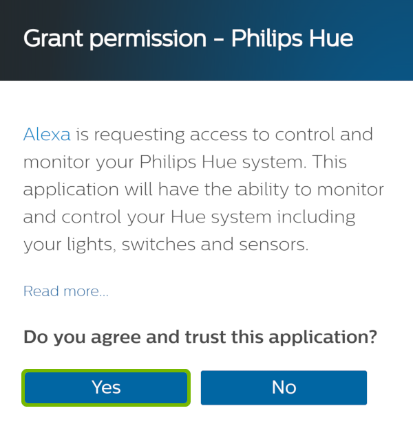 Grant Permission with Yes highlighted.