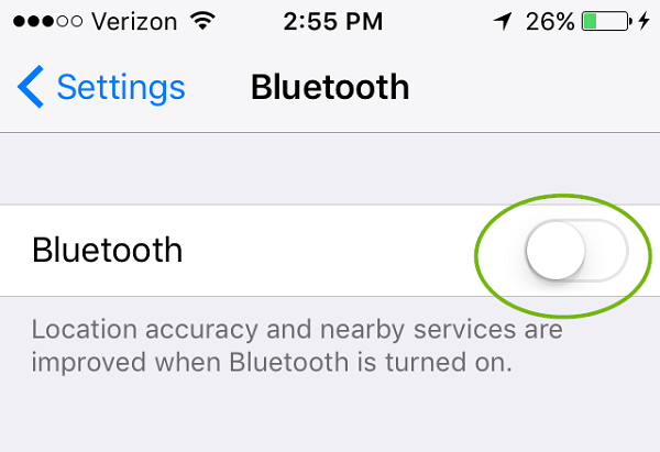 Bluetooth menu with slider off. Screenshot