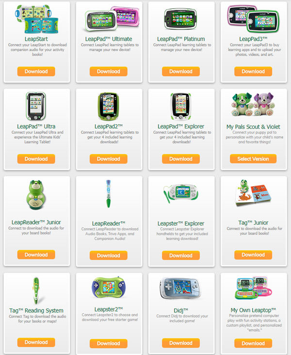 LeapFrog website displaying a grid of different LeapFrog devices.