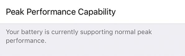 Normal peak performance capacity.